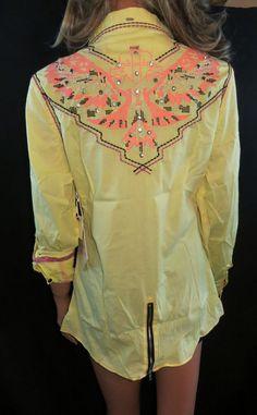 ROAR Western Shirt YELLOW NEON THUNDERBIRD RHINESTONES Gypsy Cowgirl LARGE NWT #Roar #ButtonDownShirt MAKE AN OFFER !