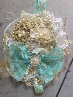 Sparkle Couture by Cozette Couture aqua and gold by CozetteCouture, $30.99