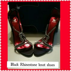 Black Rhinestone knot shoes Black Rhinestone knot shoes with 4 inch heel New Shoes