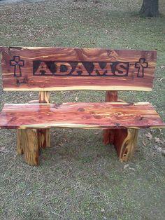 Cedar log bench for the bus stop.