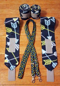Arrows Polo Wraps & Braided Reins Set, Blue Polo Wraps, Yellow Polo Wraps by CounterCanterDesigns on Etsy https://www.etsy.com/listing/235114659/arrows-polo-wraps-braided-reins-set-blue