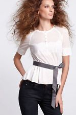 Anthropologie peplum white mesh tee shirt From Beguile by Byron Lars