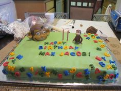 My son's 2nd Birthday cake...  He loves the alphabet and is as active and curious like George...