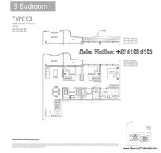 queens peak floor plan 3 bedroom-c3
