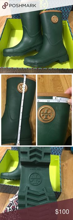 """New in Box Tory Burch Rain Boots 7 Tory Burch rain boots in size 7.  Never worn. There is some white """"blooming"""".  Below is taken from Hunter's Site: """"Occasionally, you may notice a white powdery """"bloom"""" on your boots. This is because rubber is a natural product and insoluble particles may rise to the surface. This is a common characteristic of high quality, natural rubber and nothing to worry about. It will not affect the performance or durability of your boots. Finish is easily restored…"""