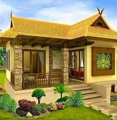 house design Modern Bungalow House, Bungalow House Plans, Modern House Plans, Hut House, Tiny House Cabin, Philippines House Design, Philippine Houses, Bamboo House, Simple House Design