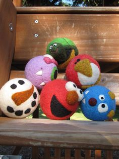 Choice of 3 Needle Felted Balls by WarmFuzziesByGen on Etsy, $46.00