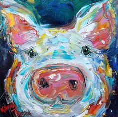 Little Pig painting original oil 6x6 palette knife