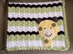 Safari inspired giraffe crochet blanket in a shell stitch