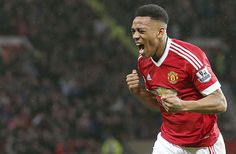 Anthony Martial of Manchester United celebrates scoring their first goal Anthony Martial, Ballon D'or, Red Army, Swansea, Man United, Manchester United, The Unit, Monaco, Milan