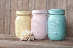 Set of 3 EASTER Pretty Pastel Mason Jars by raincloudcrafts