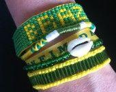 manchette de bracelets brésiliens vert et jaune