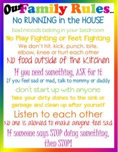 Our Family Rules Poster!