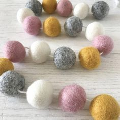 Stone and Co Felt Ball Pom Garland Dusty Pink, Natural Grey, Mustard and Natural White Dusty Pink Bedroom, Pink Bedroom Design, Pink Bedroom Decor, Pink Bedroom For Girls, Pink Bedrooms, Nursery Decor, Wall Decor, Mustard And Grey Bedroom, Mustard Living Rooms