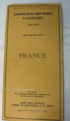 1944 WWII US Army Europe Road Map Series France   A.M.S. 6303    First Edition