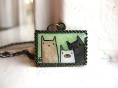 Hand Painted Necklace, 3 Cats Up to No Good Necklace - Original Watercolor Hand Painted Pendant Necklace. $38.00, via Etsy.