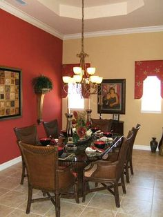 House Plans - Pictures of Homes Built from Our Home Floor Plans Dining Room Paint Colors, Bedroom Wall Colors, Living Room Paint, Dining Room Design, Living Room Decor, Interior Paint Colors For Living Room, Living Room Orange, Indian Home Decor, Red Kitchen Walls
