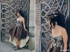 Unique same sex wedding in the German countryside with 'First Non-Look photos', the brides who made all the decorations including their own outfits and steampunk cake! Vintage Diy, Steampunk, Strapless Dress, Germany, Bride, Unique, Photography, Wedding, Outfits