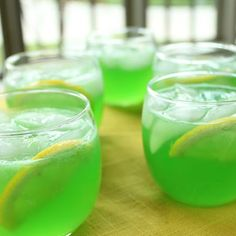 Green Punch. Lemonade concentrate with lemon-lime Kool-Aid, ginger ale, and pineapple juice. A fun festive green punch for the kiddos on St. Patrick's Day!!