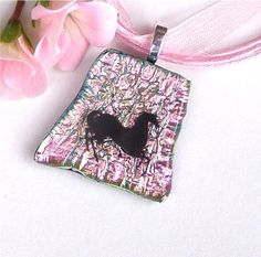 Christmas in July #CIJ Pink Dichroic Fused Glass Pendant Necklace by GreenhouseGlassworks, $20.00 #jewelry #glass