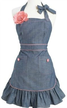 """Annie"" Denim Retro Vintage Apron ~ Discount, Recipe, Wedding, Cupcake, Appetizer, Dessert, DIY, Fashion, Food, Holiday, Party"