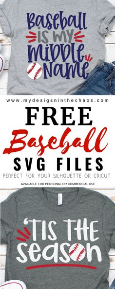 Free Baseball SVG Files for Silhouette or Cricut - My Designs In the Chaos - Baseball Photos Silhouette Cameo Projects, Personalized T Shirts, Svg Files For Cricut, Cricut Fonts, Custom T, My Design, Sport Design, Design Files, Free Silhouette