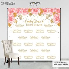 Bridal Shower Backdrop, Pink Flowers and Gold Faux Glitter Decor, any wording, Printed Or Printable File BBR0030 Photo Backdrop Stand, Banner Backdrop, Bling Wedding Centerpieces, Bridal Shower Backdrop, Gold Bridal Showers, Santas Workshop, Christmas Lights, Pink And Gold, Pink Flowers