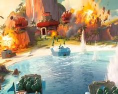 boom beach has one of the best looking lakes in a game, Graphics are beautiful :)