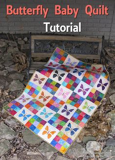 Butterfly Baby Quilt Tutorial-Connie Kresin Campbell..A great project for using fabric cutters, this free baby quilt tutorial is a perfect scrap busting project and comes with an applique template for creating your butterflies.NO ACCUQUILT DIES?  I'LL HELP YOU MAKE IT USING A SIMPLE TEMPLATE.  FINISHED SIZE IS 30″ X 42″