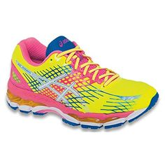 ASICS Womens Gel-Nimbus 17 Running Shoe, Flash Yellow/White/Blue, 11.5 B US -- You can find out more details at the link of the image.