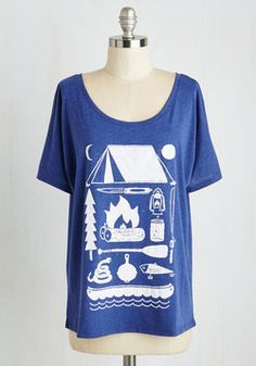 Gear the Way! Tee. Inspired by this navy scoop neck tee, youre ready as ever to hit the trails! #blue #modcloth