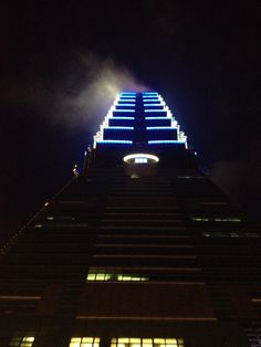 The Taipei tower looking evil at the midnight hour.
