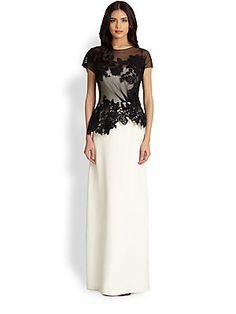 Teri Jon Bi-Color Lace-Top Gown