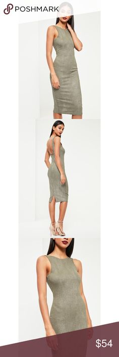 """khaki racer neck metallic midi dress it's metallic all the way rn. kick it in khaki in this midi dress with its racer neck, figure-hugging fit and metallic fibres for a dazzling vibe.   regular / stretch fit   mixed fibres   approx length: 140cm/40"""" Missguided Dresses Midi"""