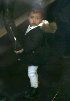 "kimkardashianfashionstyle: ""February 15, 2015 - Kim Kardashian & North West arriving at their apartment in NYC. """