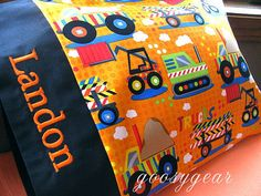 Personalized Construction Truck Toddler Pillow by goosygear, $24.00
