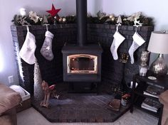 Home - Fireplace Mantle Christmas decor for corner wood stove / fireplace mantel Gas Stove Fireplace, Wood Stove Hearth, Pellet Stove, Fireplace Ideas, Fireplace Remodel, Fireplace Mantels, Mantle, Wood Burning Stove Corner, Corner Stove