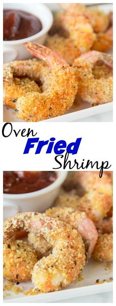 "Oven Fried Shrimp - make super crispy shrimp that is baked, not fried, and actually good for you! Your family is goign to love this batter ""fried"" shrimp! Fried Shrimp Recipes, Shrimp Dishes, Fish Recipes, Seafood Recipes, Cooking Recipes, Shrimp Appetizers, Oven Recipes, Shrimp Meals, Shrimp Pasta"