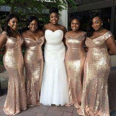 Sparkly Gold Sequin Mismatched Custom Long Bridesmaid Dresses, Afforda - SposaDresses