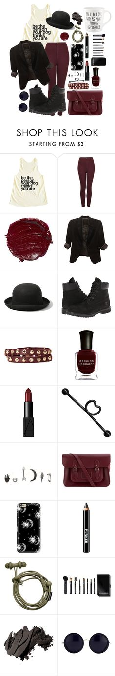 """""""Fall in Love with as Many things as possible//Be the Person Your Dog Thinks You Are"""" by ticci-toby ❤ liked on Polyvore featuring Topshop, The Limited, Abercrombie & Fitch, Timberland, Linea Pelle, Deborah Lippmann, NARS Cosmetics, With Love From CA, The Cambridge Satchel Company and Casetify"""