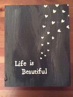 Reclaimed barn wood sign life is beautiful home by BarnWoodDecor, $12.99
