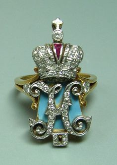 Fabergé. Finger ring with the initials of Emperor Nicholas II. Gold, diamonds, enamel. 1912. St Petersburg, #Russia.