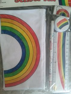 I had this!  Rainbow School Kit. 1980's Stationary set.