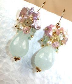 ON SALE 20% off - Aquamarine Cluster Earrings Keishi Pearls 14k Gold Filled Pastel Gemstone Earrings March Birthstone