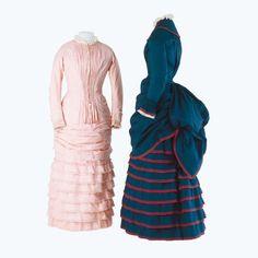 Dunkelblaues & rosafarbenes Mädchenkleid, wohl Basel, um 1875  Baumwolle bestickt, Leinenspitze  L. 122 cm #fashion #art #kunst #mode #fabrics #stoffe #schmuck #jewelry #museum #basel #schweiz #switzerland #history #geschichte