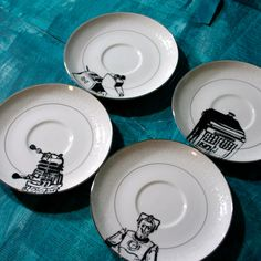 Dr Who Themed Altered Vintage Plates Set