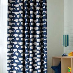 Whale Blue and White Polyester Curtains for Blackout (Two Panels), Buy Blue Print Blackout Curtains, Cheap Fiber Polyester Curtains Sale
