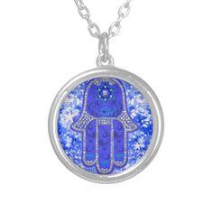 Hamsa good fortune blue necklace