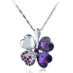 Wakanoo Four Leaf Clover Heart Shaped Fashion Austrian Crystal Swarovski Element Rhodium Plated Pendant Necklace Purple Wakanoo http://www.amazon.com/dp/B010UCPI5E/ref=cm_sw_r_pi_dp_1nWzwb03K1Z06