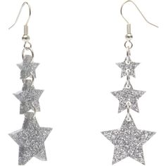 Shooting Star Earrings Glitter Silver ($50) ❤ liked on Polyvore featuring jewelry, earrings, star earrings, silver jewelry, silver earrings, star jewelry and glitter earrings